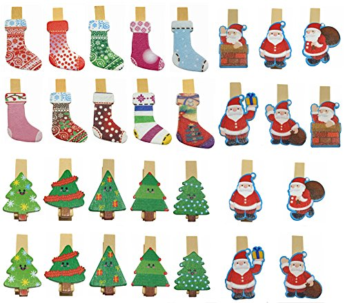 Wooden Stocking - QTMY 30 Pcs Christmas Tree Stocking Santa Claus Wooden Clip Hanging Photos with Twine Decoration Supplies Favors (Christmas Wooden Clip)