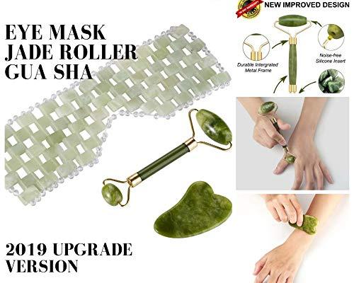 Jade Roller and Gua Sha Set with Eye Mask Skin Massager Anti-Aging 100% Original Natural Jade Stone Facial Neck Beauty Circulation Slimming Firming