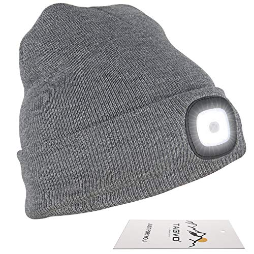 TAGVO USB Rechargeable LED Beanie Cap, Lighting and Flashing Alarm Modes 8 LED Hands Free Flashlight, Easy Install Quick Release Headlamp Beanie, Unisex Winter Warmer Knit Cap Hat - -