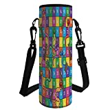 iPrint Water Bottle Sleeve Neoprene Bottle Cover,Board Game,Cute Snakes Smiling Faces Numbers in Squares Ladders Childrens Kids Play Print,Multicolor,Fit for Most of Water Bottles