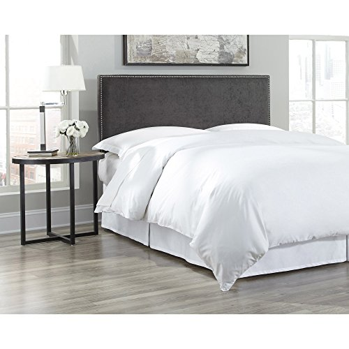 Fashion Bed Group Transitional B72800 Zurich Headboard Panel with Hand Applied Nailhead Trim, King, Pewter Finish