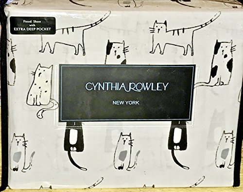 CATS KITTY CATS Queen Size SHEET SET - cynthia rowley Cotton Sheet Sets