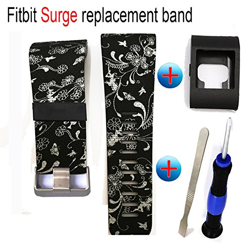 Fitbit Surge Replacement Bands-Budesi Double Color Free Size Replacement Strap Band for Fitbit Surge Watch Fitness Tracker (Fitbit Warranty Surge)