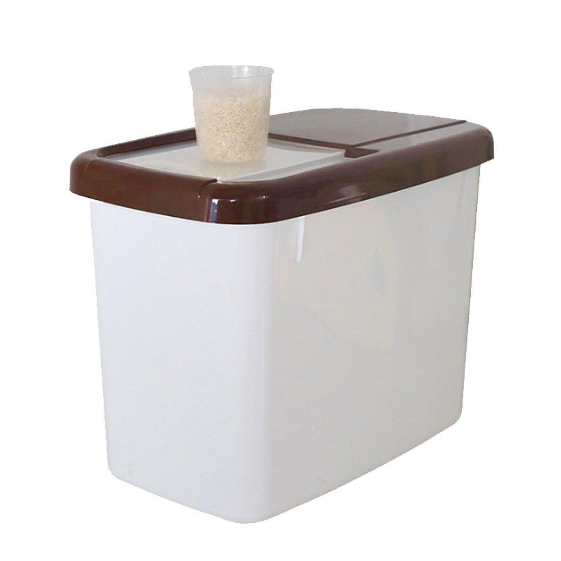 Tosbess 10KG Contenitore per cereali Optimum con coperchio, 17x34x25cm, Bianca