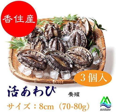 美嶋丸 活あわび 8cm(70-80g)サイズ 3個 香住産 こだわりの絶品養殖あわび 蝦夷あわび