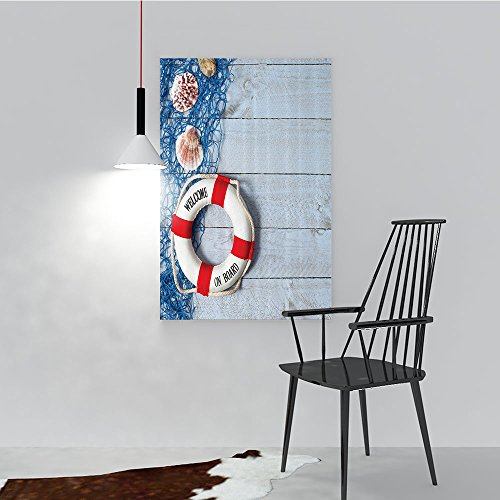 Philip C. Williams Modern Wall Art Decor Frameless Welcome Board Message Lifebuoy with Fishing NSeashell Wood Floor of Boat for Home Print Decor for Living Room W24 x - Frozen Light Message Up Board