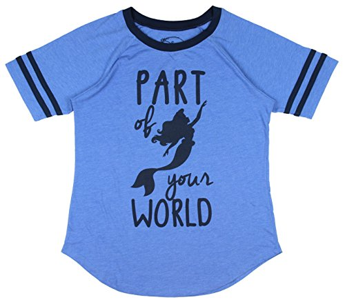 - DIsney Little mermaid Part Of Your World Boyfriend Juniors T-shirt (Small, Heather Blue)