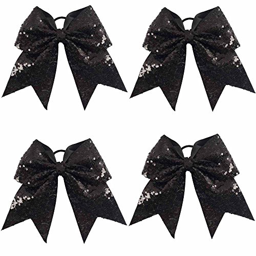 CN Sequin Baby Girls Cheer Bow Big School Color Hair Bow With Elastic Tie For Cheerleading Girls