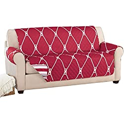 Reversible Nautical Rope Furniture Cover Protector Red Loveseat, Red, Loveseat