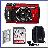 Olympus Stylus TOUGH TG-5 Digital Camera (Red) Bundle, Includes; 32GB SDHC Class 10 Memory Car + Camera Case