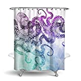 Dimaka Shower Curtain Bathroom Decoration Design Decor Mildew Resistant Repellent Water Resistant Fabric Shower Curtain [Animal], Home Textile (71'' W x 71'' L, Purple Octopus)