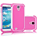samsung galaxy 4 mini pink - Tekcoo for Galaxy S4 Case, [Tmajor Series] [White/Pink] Shock Absorbing Hybrid Rubber Plastic Impact Defender Rugged Slim Hard Case Cover Shell for Samsung Galaxy S4 S IV I9500 GS4 All Carriers