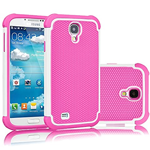 Galaxy S4 Case, Tekcoo(TM) [Tmajor Series] [White/Pink] Shock Absorbing Hybrid Rubber Plastic Impact Defender Rugged Slim Hard Case Cover Shell For Samsung Galaxy S4 S IV I9500 GS4 All (Cell Phone Cases Galaxy S 4 Mini)