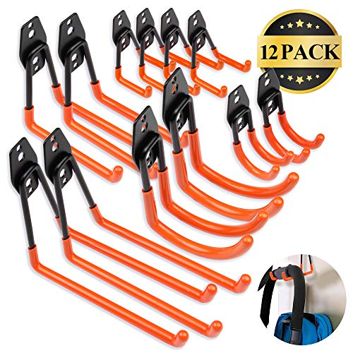 Steel Garage Storage Utility Double Hooks, Easy to Install Wall Mount Heavy Duty Hangers for Organizing Large Power Tools, Anti Slip Design Holding Ladders, Chairs, Bikes, Ropes, Bulk Items, 12 Pack