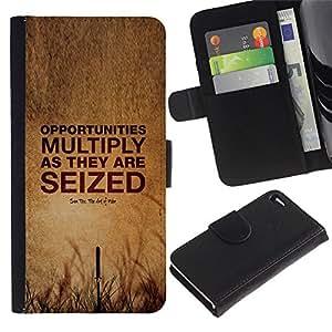 Be Good Phone Accessory // Caso del tirón Billetera de Cuero Titular de la tarjeta Carcasa Funda de Protección para Apple Iphone 4 / 4S // seize opportunity summer quote deep