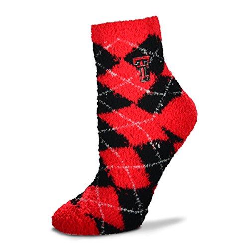 (For Bare Feet NCAA Argyle Fuzzy Sleep Socks-Medium-Texas Tech Red Raiders)