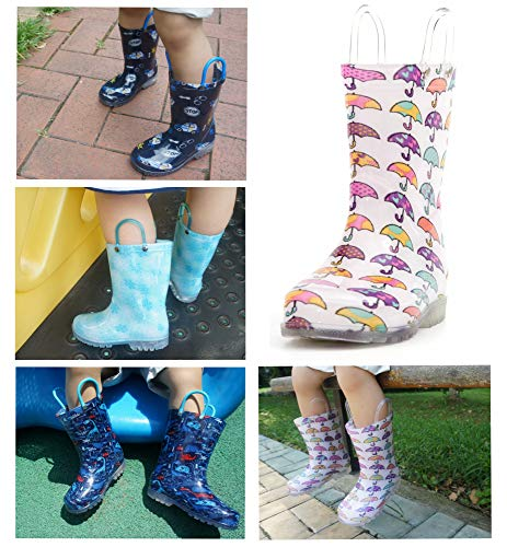 Product image of MOFEVER Toddler Girls Kids Light up Rain Boots Waterproof Shoes White Umbrella Print Lightweight Cute Lovely Funny with Easy-on Handles (Size 9,White)