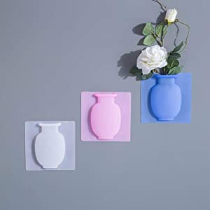 ChezMax Flower Pot Silicone Sticky Vase 3PCs Hanging Decorative Reusable Wall-Mounted Flower Vase
