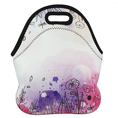 Extra Large Insulated Neoprene Lunch Bag Tote Violet Mist T