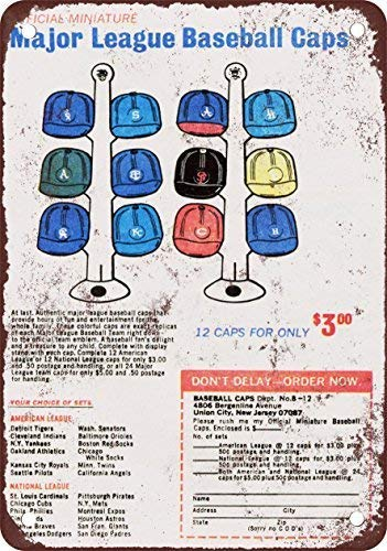 (1970 Mini-Baseball Caps 12 for $3.00 Vintage Look Reproduction Metal Tin Sign 8X12 Inches)