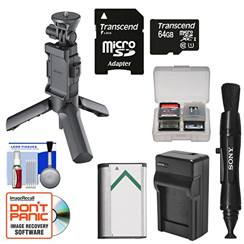 Sony VCT-STG1 Shooting Grip & Mini Tripod for AS50, AS200V, AS300, X1000V, X3000 Action Cams with 64GB Card + NP-BX1 Battery & Charger + Kit by Sony