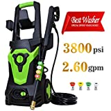 Eletron 3800PSI 2.6GPM Electric Pressure Washer, External Detergent Dispenser and Quick Connector,Built-in Thermal Protector Patio Cleaner