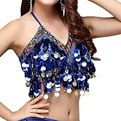 Dark Blue With Colorful Beads & Sequin Halter Top