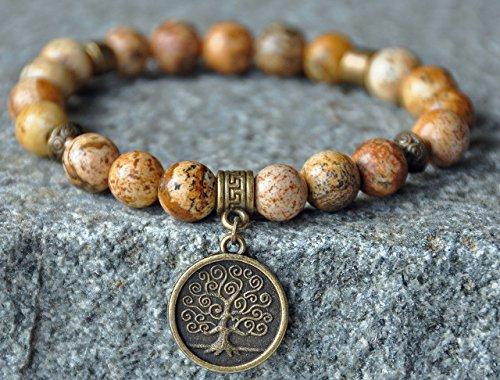 Stability and Consciousness,Picture Jasper Gemstone Bracelet,Tree of Life Bracelet,Mala Bracelet,Yoga Bracelet,Meditation Bracelet,Japa Mala David Yurman Designer Bracelet