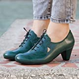 Green Handmade Leather Women's Pumps