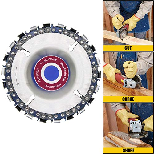 22% Professional Teeth - Angle Grinder Disc,GreatTool 4 Inch Wood Carving Disc Chain Saw Plate 22 tooth, 5/8