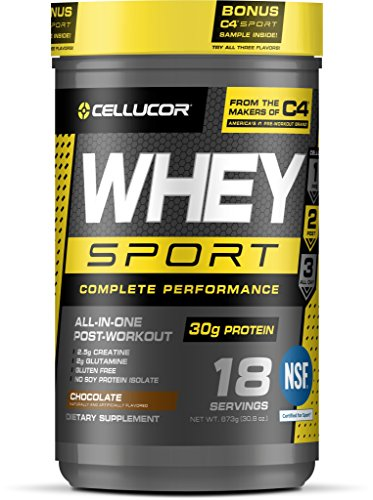 Cellucor Whey Sport Protein Powder, Post Workout Recovery Drink with Whey Protein Isolate, Creatine & Glutamine, Chocolate, 18 Servings (Cellucor Whey Best Flavor)