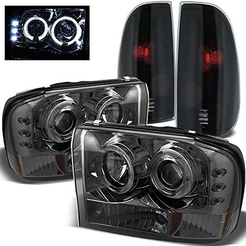 For 1999-2004 Ford F250/F350 Super Duty Smoked Halo Projector Headlights + Mystery Black/Smoked Tail Lights 2000 2001 ()
