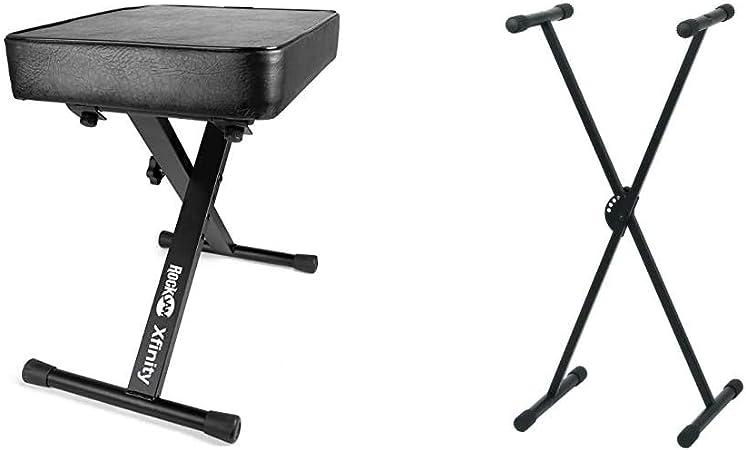 RockJam Premium Teclado Acolchado Ajustable, Banco y Taburete de Piano + Pure GEWA F900520Soporte de Teclado, Patas Perfil Simple,Negro