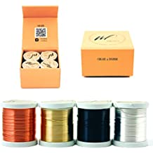 22 Gauge Tarnish Resistant Silver-Plated Copper and Copper Wire Set of 4 spools for Wrapping Jewelry Making Beading Floral Colored DIY Craft Wire kit (WF Color Set 1, 0.60 mm)