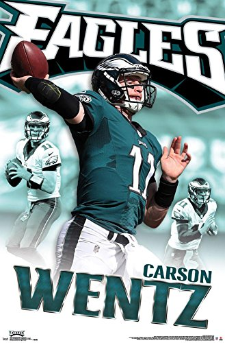 "Trends International RP14080 Philadelphia Eagles Carson Wentz Wall Poster, 22.375"" x 34"""