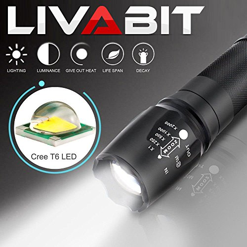 LIVABIT Tactical T1K Super Bright Rechargeable LED Flashlight Kit 1000LM Flashlight Torch by LIVABIT (Image #3)