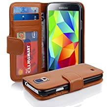 Cadorabo - Book Style Wallet Design for Samsung Galaxy S5 / S5 NEO (I5500) with 2 Card Slots and Money Pouch - Etui Case Cover Protection in SADDLE-BROWN