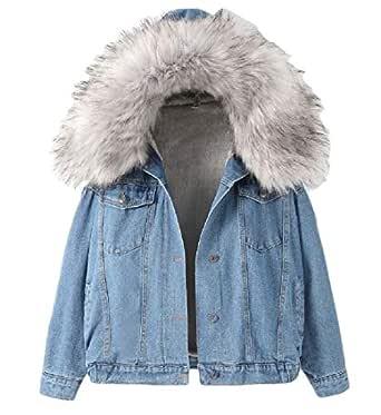 Women Hooded Denim Jacket Cozy Faux Fur Collar Fleece Lined Thick Jean Coat Gery XS