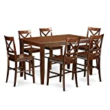 6 person dinning table - East West Furniture DUQU7H-MAH-W 7 Piece High Top Table and 6 Kitchen Bar Stool Set