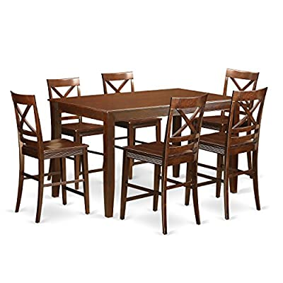 East West Furniture DUQU7H-MAH-W 7 Piece High Top Table and 6 Kitchen Bar Stool Set - 7 Piece Classy rectangular counter height table with six dining room chairs finish in a warm mahogany color with wood seat. Table Dimensions: Length 60; Width 36; Height 36. Chair Dimensions: Length 23; Width 18; Height 42. - kitchen-dining-room-furniture, kitchen-dining-room, dining-sets - 51uwD7cTJoL. SS400  -