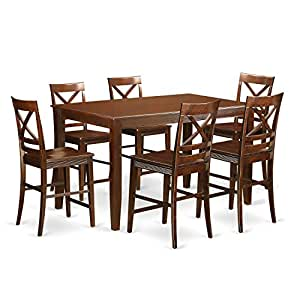 East West Furniture DUQU7H MAH W 7 Piece High Top Table And 6 Kit