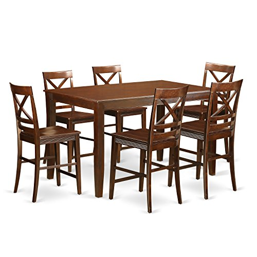 (East West Furniture DUQU7H-MAH-W 7 Piece High Top Table and 6 Kitchen Bar Stool Set)