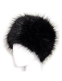 Futrzane Faux Fur Cossak Russian Style Hat for Ladies Winter Hat for Women (M, Black)
