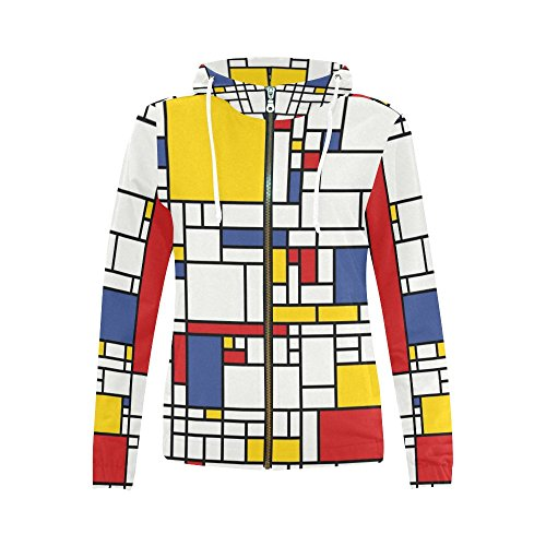 INTERESTPRINT Abstract Mondrian Painting Women's Zipper Hoodies Sweatshirt M