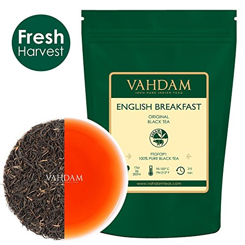 VAHDAM, Original English Breakfast Tea Leaves, (200+ Cups) Strong, Rich & Flavoury, FTGFOP1 Long Leaf Grade, Loose Leaf Tea, 100% Pure Black Tea Leaves, Packed in a Beautiful Zipper Bag, 16oz