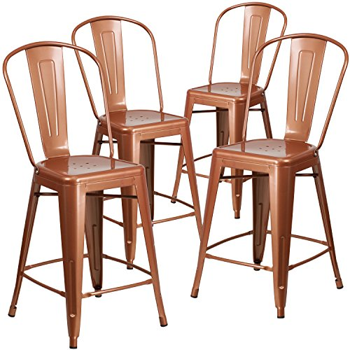 Flash Furniture 4 Pk. 24'' High Copper Metal Indoor-Outdoor Counter Height Stool with Back