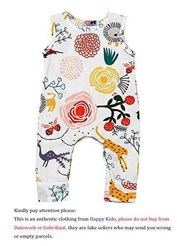 Happy kido Newborn Baby Girls Flower Animal Print Romper Bodysuit Outfits Spring Summer Tops (White, 0-6 Months) 70