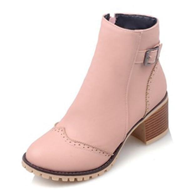 SHOWHOW Damen Rund Zehen Kurzschaft Stiefel Martin Boots Mit Absatz Pink 38 EU wrD7lyb
