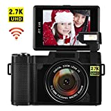 Digital Camera with WiFi 24.0 MP Vlogging Camera 2.7K Ultra HD 3.0 Inch Camera with Flip Screen Retractable Flashlight (D1)