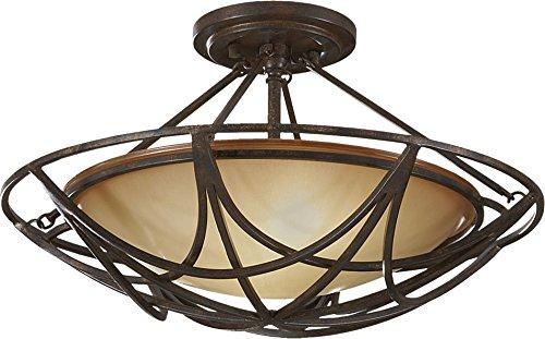 Mocha Bronze Two Light - Feiss SF286MBZ El Nido Glass Semi Flush Ceiling Lighting, Bronze, 2-Light (18